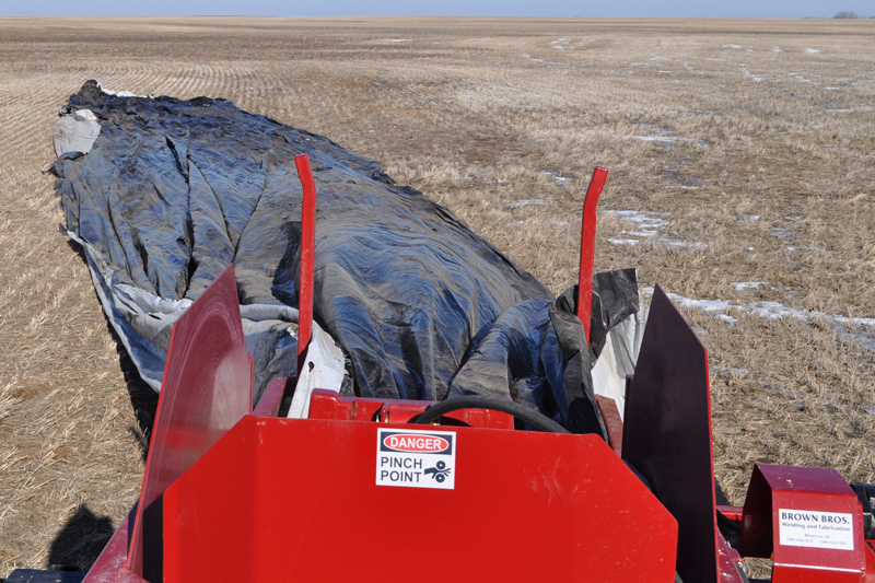 Bag roller in field