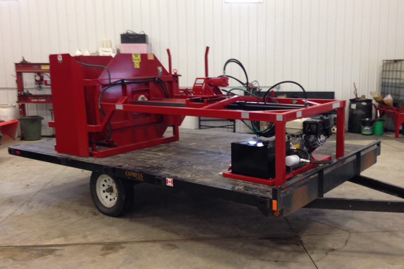 Grain bag roller trailer mount